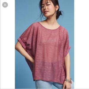 Anthropologie Akemi + Kin Pink Lace Bratton Top
